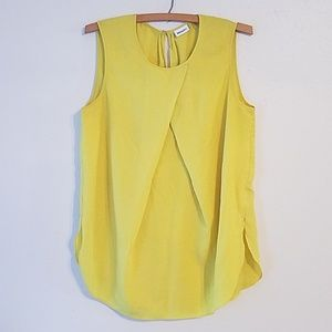 DKNYC bright yellow sleeveless blouse